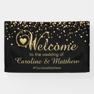 Elegante Goldschwarz-Herz-Willkommens-Hochzeit Banner