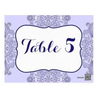 Elegante große blaue Medaillon-Muster-Tischnummer Postkarten