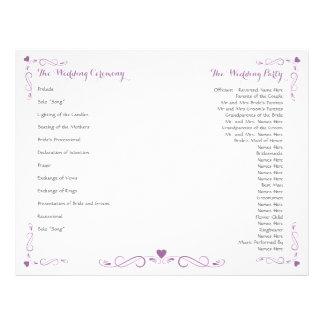 Elegante Herz-Rahmen-Hochzeits-Programm-Flyer Flyer
