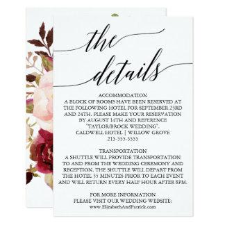 Elegante hintere Hochzeits-mit Blumendetails der Karte
