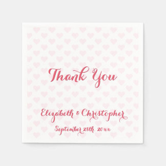 Elegante Hochzeit danken Ihnen rosa Servietten