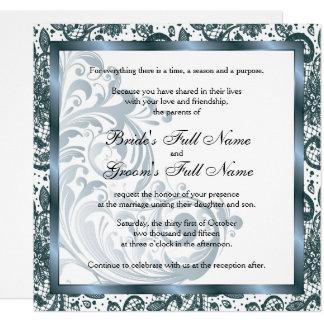 Elegante Hochzeits-Einladung - Blau Karte