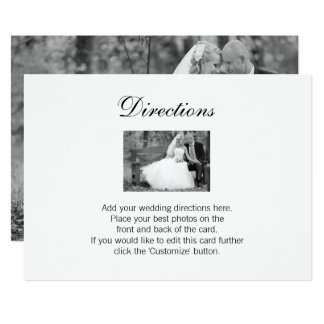 Elegante Hochzeits-Foto-Richtungs-Karte 12,7 X 17,8 Cm Einladungskarte