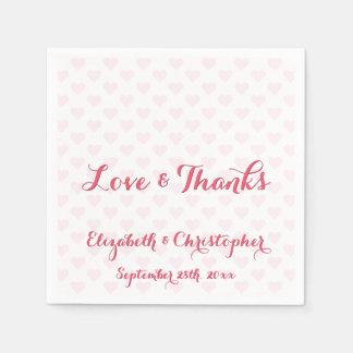 Elegante Hochzeits-Liebe dankt Papierserviette