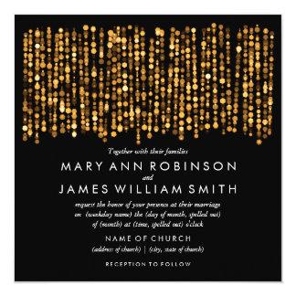 Elegante Hochzeits-moderne Goldlichter Quadratische 13,3 Cm Einladungskarte