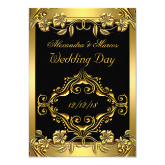 Elegante Hochzeits-verziertes schwarzes mit 11,4 X 15,9 Cm Einladungskarte