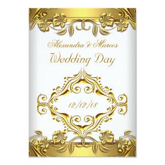Elegante Hochzeits-verziertes weißes mit 11,4 X 15,9 Cm Einladungskarte