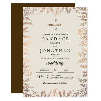 Elegante Imitat-Goldlaub-Hochzeit 12,7 X 17,8 Cm Einladungskarte