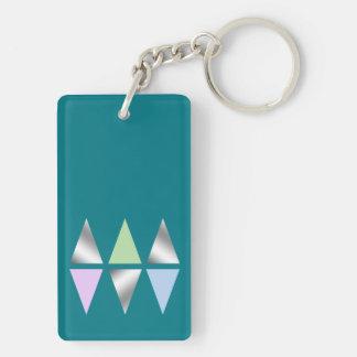 elegante klare geometrische Dreiecke der silbernen Beidseitiger Rechteckiger Acryl Schlüsselanhänger