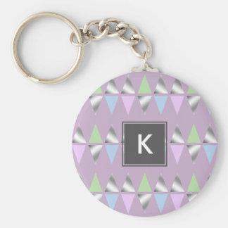 elegante klare geometrische Dreiecke der silbernen Standard Runder Schlüsselanhänger
