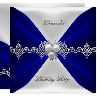 Elegante Königsblau-Geburtstags-Juwel-Weiß-Seide Karte