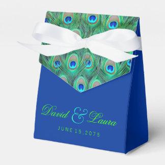 Elegante Königsblau-und Grün-Pfau-Hochzeit Geschenkschachtel