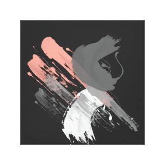 elegante korallenrote rosa weiße und graue galerie gefaltete leinwand