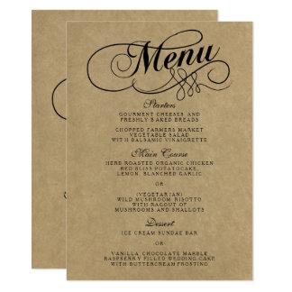 Elegante Kraftpapier-Hochzeits-Menü-Vorlagen 11,4 X 15,9 Cm Einladungskarte