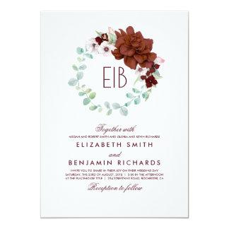 Elegante Kranz-Hochzeit BlumenAquarell-Burgunders 12,7 X 17,8 Cm Einladungskarte