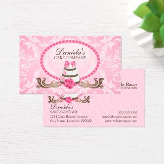 Elegante Kuchen-Bäckerei-Damast-Visitenkarten Visitenkarte