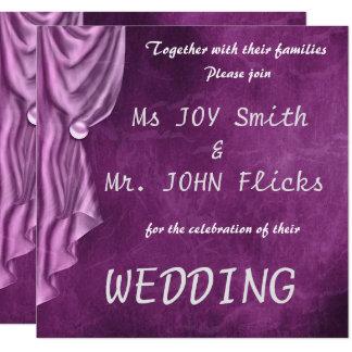Elegante lila Satin-Quadrat-Hochzeits-Einladung Quadratische 13,3 Cm Einladungskarte