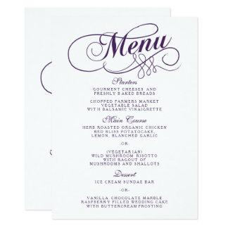 Elegante lila und weiße Hochzeits-Menü-Vorlagen 11,4 X 15,9 Cm Einladungskarte
