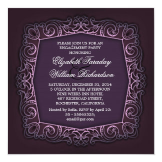elegante lila Verlobungseinladungen Quadratische 13,3 Cm Einladungskarte