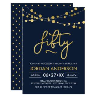 Elegante moderne blaue Schnur des Licht-50. 12,7 X 17,8 Cm Einladungskarte