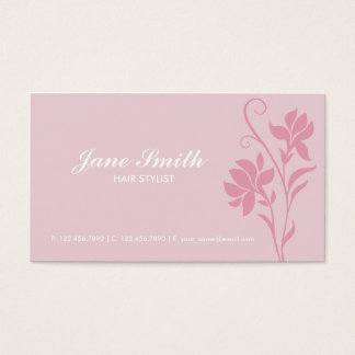 Elegante moderne rosa Blume mit Blumen Visitenkarten