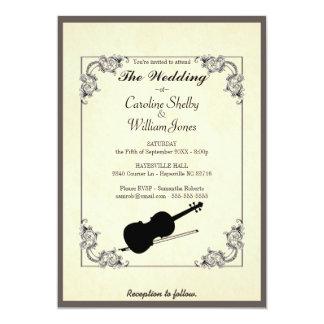 Elegante moderne Violinen-Hochzeits-Einladung Karte