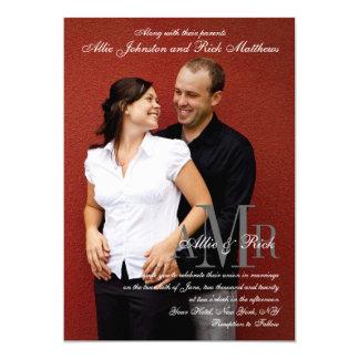 Elegante Monogramm-Foto-Hochzeits-Einladung 12,7 X 17,8 Cm Einladungskarte