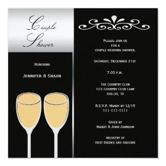 Elegante Paar-Polterabend-Einladungen Quadratische 13,3 Cm Einladungskarte