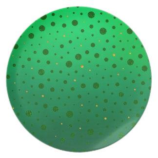 Elegante Punkte - grünes Gold - St Patrick Tag Melaminteller