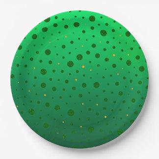Elegante Punkte - grünes Gold - St Patrick Tag Pappteller