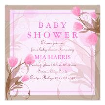 Elegante rosa BlumenBabyparty-Einladung