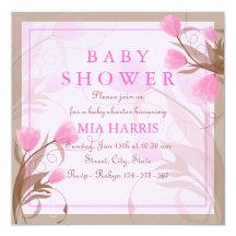 Elegante rosa BlumenBabyparty-Einladung Quadratische 13,3 Cm Einladungskarte