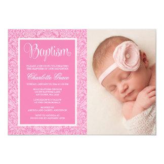 Elegante rosa Damast-Mädchen-Foto-Taufe-Taufe Karte