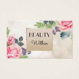 Elegante rosa Rosen-Blumenchampagne-Imitat-Gold Visitenkarte