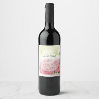 Elegante rosa Sommer-Rosen-Hochzeit Weinetikett