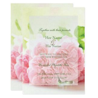 Elegante rosa Sommer-Rosen-Hochzeits-Einladung Karte