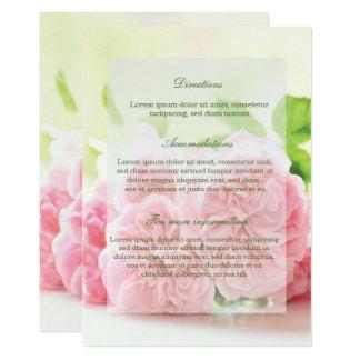 Elegante rosa Sommer-Rosen-Hochzeits-Richtungen Karte