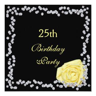 Elegante Rose u. Diamant-25. Geburtstag Quadratische 13,3 Cm Einladungskarte