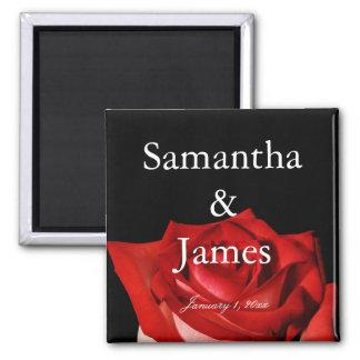 Elegante Rosen-personalisierte Hochzeit Quadratischer Magnet