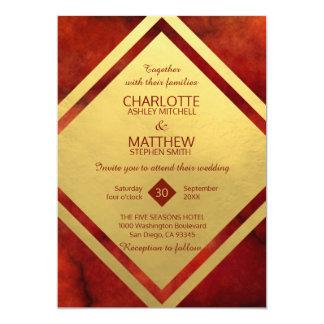 Elegante ROTE GOLDmarmor-Hochzeits-Einladungen Karte
