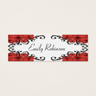 Elegante rote und schwarze Blumen Mini Visitenkarte