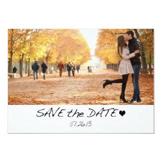 Elegante Schwarz-Save the Date Foto-Karte mit Herz Individuelle Einladung