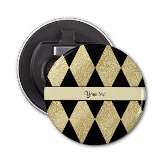 Elegante Schwarz-u. Golddiamanten Runder Flaschenöffner
