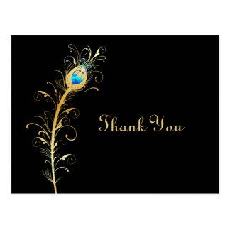 Elegante Schwarz-und Goldpfau-Feder danken Ihnen Postkarten