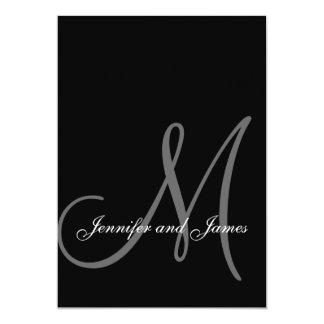 Elegante Schwarz-weiße 12,7 X 17,8 Cm Einladungskarte