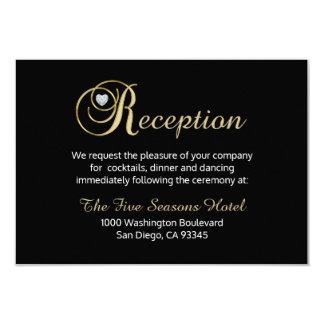 Elegante schwarze Golddiamant-Hochzeit EMPFANG Karte