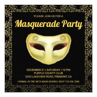 Elegante schwarze Goldmaskerade-Party Einladung