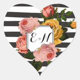 Elegante schwarze Wedding Streifenheirloom-Rosen Herz-Aufkleber