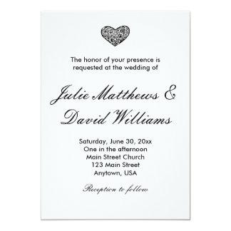Elegante Schwarzweiss-Herz-Hochzeits-Einladung Karte