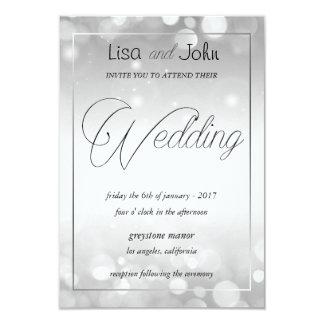 Elegante silberne Hochzeits-Einladung Karte